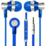 With Volume Control & MIC Function Designer Series & Comfort Fit Stereo Headset Handsfree Headphone Earphone 3.5 MM Jack For Motorola Moto E (2nd Gen) -Blue