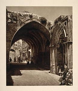 1926 City Street Arch Jerusalem Israel Architecture - Original Photogravure