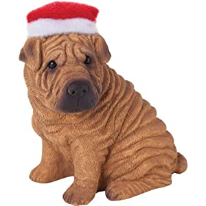 Sandicast Red Chinese Shar Pei with Santa Hat Christmas Ornament