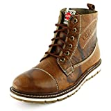 Lee Fog Mens Hobbs Genuine Leather High Anklet Textured Tan Genuine Leather Casual Boots UK 8