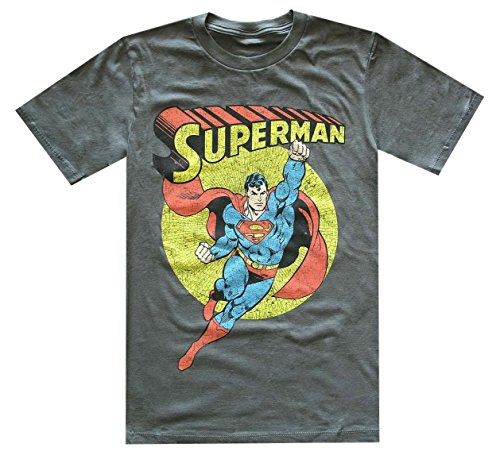 DC Comics Men`s Soaring Superman Distressed Vintage Look T-shirt (Medium, Charcoal)