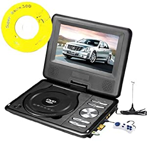 Portable Swivel Bravolink DVD Player with TV USB Card Reader Radio Games MP3 CD-R CD-RW WMA CD DHCD (7.5 inch (788), black)