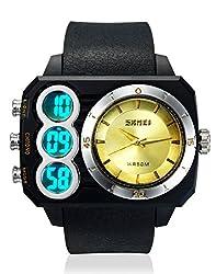 Skmei Sports Stop Watch Analog - Digital Golden Dial Mens Watch - AD1090