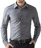 PAUL JONES Mens Casual Slim Fit Dress Shirts Dark Grey(M)