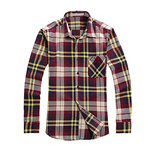 Men'S Long Sleeve Plaid Flannel Shirt N009 Wine Red Us Size L (Lable Size 2Xl)
