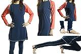 Full Length Swimwear - Navy Orange, L