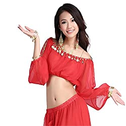 Belly Dance Costume Chiffon Long Latern Sleeve Tops With Coins Belly Dance Top