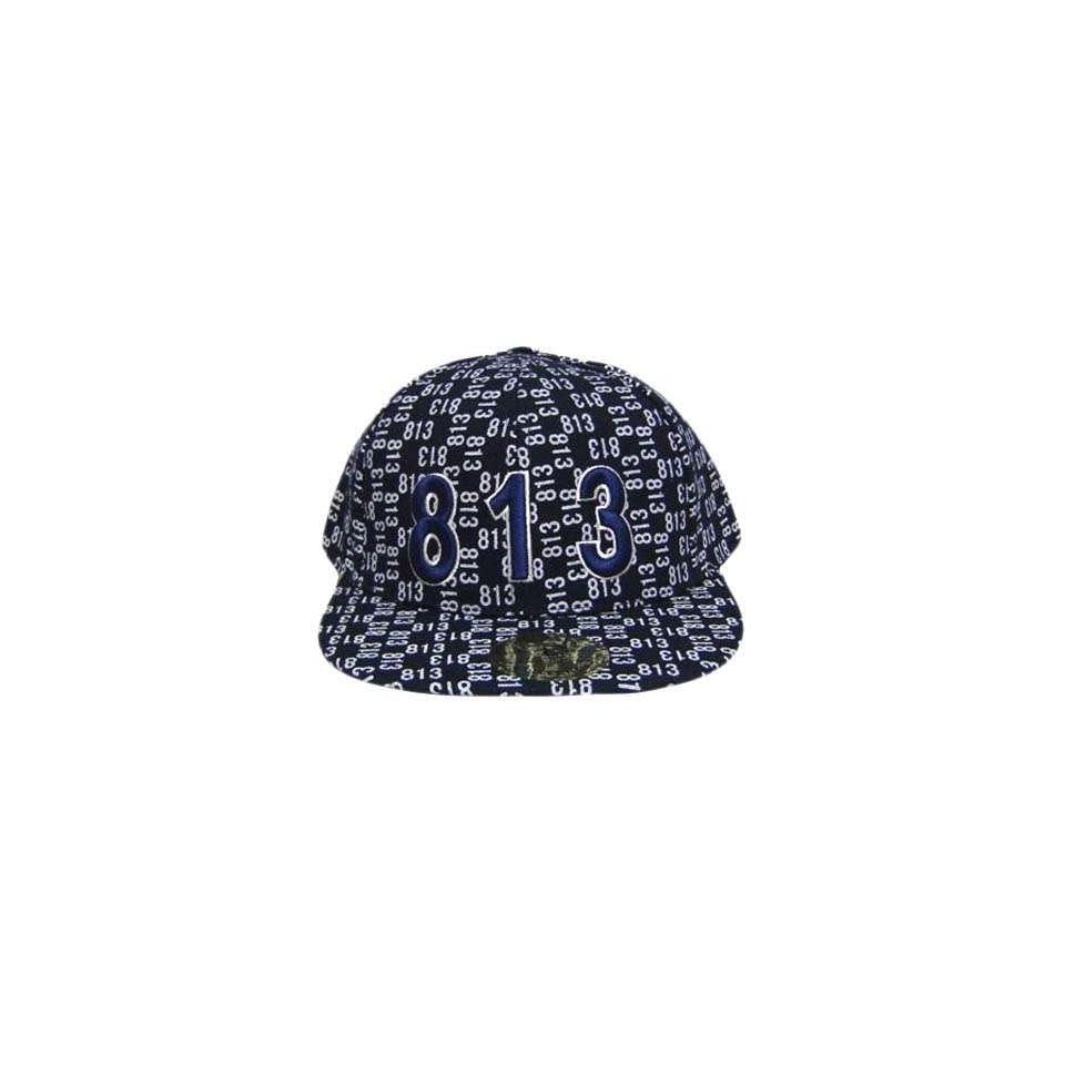 TAMPA 813 NAVY WHITE FLAT BILL FITTED CAP HAT MEDIUM