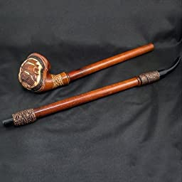 25.2\'\' Extra-long carved wooden smoking pipe. WORLDWIDE shipping.