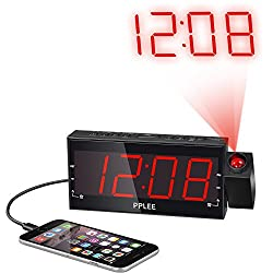 PPLEE 1.8 Inch LED Dimmable Projection Dual Alarm Clock AM/FM Radio with USB Charging,Battery Backup,Sleep Timer,Snooze