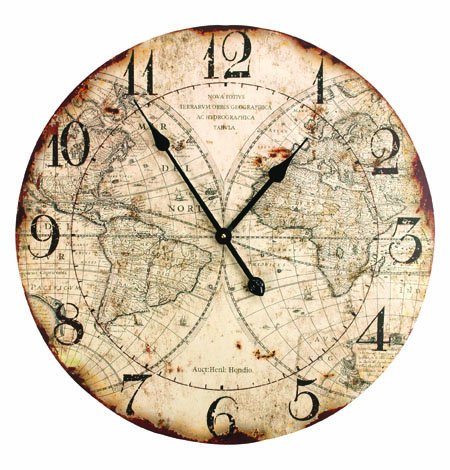 23 Absolute Antique Style World Map Distressed Finish Decorative Wall Clock