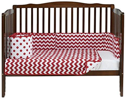 Baby Doll Chevron Dot Port- A-Crib Bedding, Red