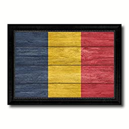Chad National Country Flag Texture Canvas Print, Frame Patriotic Souvenir Gift Ideas office Home Décor Wall Art Livingroom Vintage Decoration Interior Design, 15\