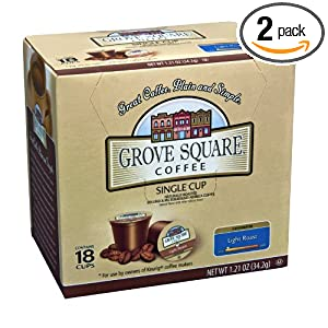 Grove Square Coffee, Light Roast, Single Serve Coffee Cup for Keurig K-Cup Brewers, 18-Count (Pack of 2) $5.88