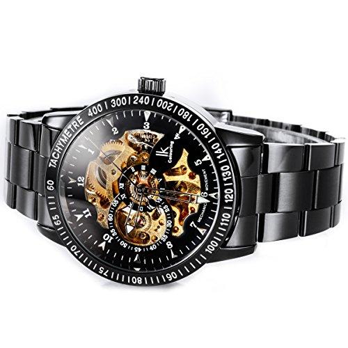 Alienwork IK mechanische Automatik Armbanduhr Skelett Automatikuhr Uhr schwarz Edelstahl 98226-07 3