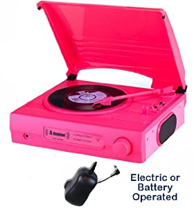 Review and Buying Guide of Cheap 1980s Style Record Player Turntable - Mains Electric Or Battery - Built In Amp & Speakers - Portable / Carry Handle - Nostalgic Retro Design (mains Adapter Included) (neon Pink)