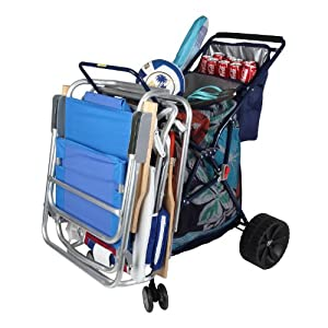Amazon.com: Folding Beach Cart with Cooler Color: Blue