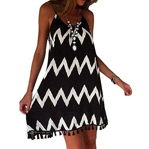 ipretty elegant Damen Sommerkleid kurz Ärmellos Damen strandkleider damen Kleid Rock Partykleid Cocktaikleid