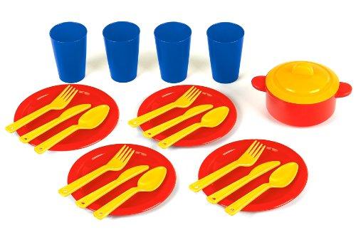 Theo Klein 9221 - Set da cucina: posate, piatti, bicchieri e pentola