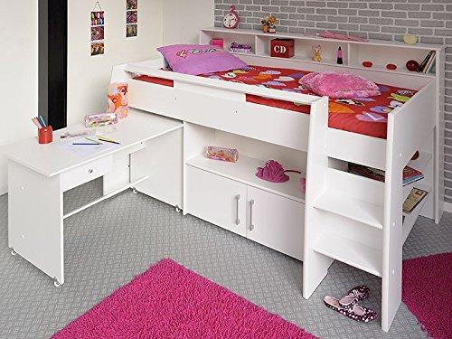 Hochbett, Kinderbett Sway 211x132x130cm weiß Kinderzimmer Bett Schreibtisch jetzt bestellen