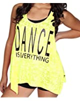 Dance Tank Top in Neon Burnout Material Pink or Yellow
