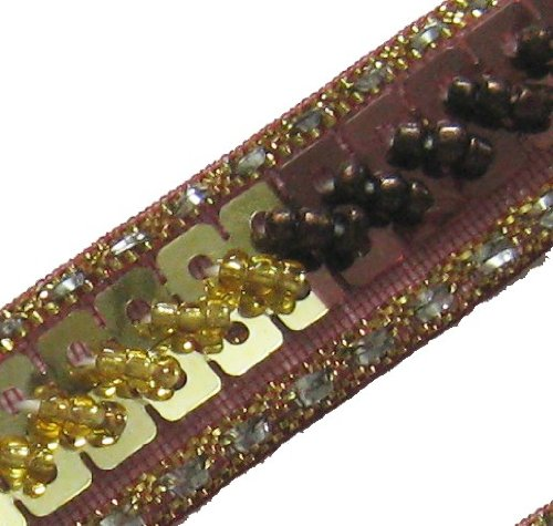 4.5 Yards Brown Gold Hand Beaded Sequin Trim Lace New