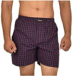CALICO Men's Cotton Boxers (CAL_28_S, Blue and Purple, S)