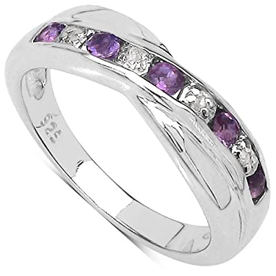 The Amethyst Ring Collection: Amethyst & Diamond Channel Set Crossover Eternity Ring in Sterling Silver