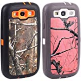 Pack of 2 Huaxia Datacom Realtree Camo Defender Case w/ Built-in Screen Protector For Samsung Galaxy S3 SIII (fit for all carries) - Orange Camo Tree and Pink Camo Case