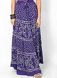 Soundarya Women Cotton Skirts -Purple -Free Size