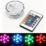 BINZET IR Remote Controlled RGB Submersible LED Lights AA Battery Operated LED Accent Lights for Lighting Up Vase, Bowl, Fish Tank, Wedding, Centerpiece, Halloween, Party Lights(AA Batteries NOT included)