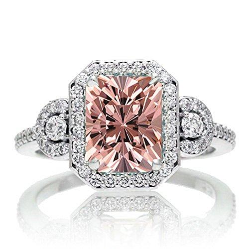 1.5 Carat Emerald Cut Three Stone Morganite Halo Diamond Ring on 10k White Gold