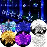 Sellify Purple : Generic 168 LED Flashing Star String Fairy Lights Wedding Curtain Light 220V 5 Modes-purple
