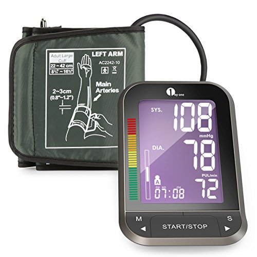 1byone Upper Arm Blood Pressure Monitor with Easy-to-Read Backlit LCD, One Size Fits All Cuff, Nylon Storage Case, Black (Blood Pressure Testing Machine compare prices)
