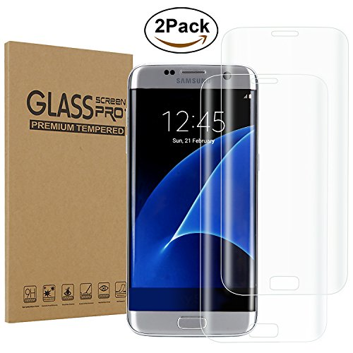 Galaxy S6 Edge Plus Screen Protector, [2-Pack] H&T(TM) 3D Tempered Glass Screen Protector [Scratch Proof] with 9H Full Cover Anti-Bubble Curved Glass Film for Samsung Galaxy S6 Edge Plus (Clear)