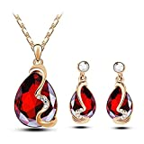 Darkey Wang Woman Stylish Simplicity Crystal Earrings Necklace Jewelry Sets£¨Red)