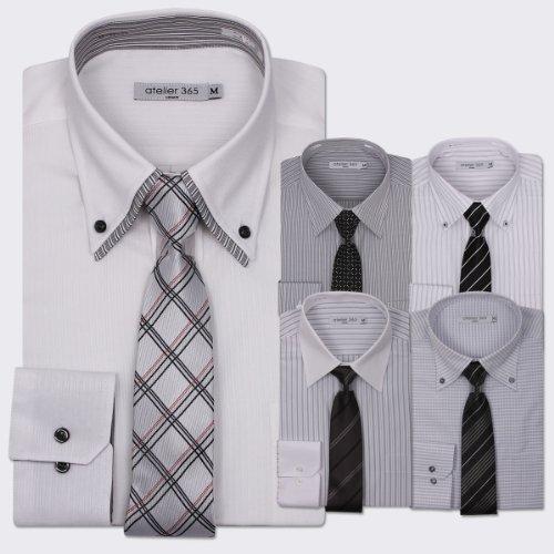 (アトリエサンロクゴ) atelier365 ワイシャツ 出来る男のドレスシャツ10点セット (ワイシャツ5枚/ネクタイ5本)/at105-sm-zaiko-BSET-M-39-82
