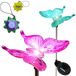 HQRP Changing Multi-Color Butterfly, Solar Power Garden / Yard / Lawn / Landscape Decorative LED Light Illuminated Stake + HQRP UV Meter