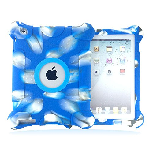 Ipad 4 3 2 Armor Cover Case Vakoo Kids Fun Play Silicone Portable Light Weight Shockproof Drop Proof Armor Protective Cover Case For Apple Ipad 4 Ipad 3 Ipad 2 (Camo/Blue) front-1082665