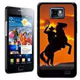 Fancy A Snuggle Silhouette Of Cowboy On Horse Rearing Up Design Hard Case Clip On Back Cover for Samsung Galaxy S2 i9100