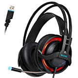 SADES R2 Virtual 7.1 Channel Surround Sound headphones with Retractable Mic USB PC Gaming Headset Stereo Professional headsets Noise-Canceling Volume Control LED Light(Black)