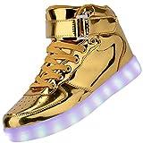 ハオハンフズ Haohanfz 発光モード LEDスニーカー LEDシューズ 男女兼用 光る靴 ハイカット 発光靴 LEDシューズ USB充電可能  カップル シューズ