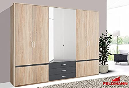 Kleiderschrank Schrank mit Spiegel 333262 eiche sägerau / anthrazit 270cm 6-turig