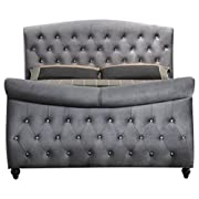 Meridian Furniture Hudson-Sleigh-K Hudson Collection Grey Velvet Upholstered Sleigh Bed with Crystal Button Tufting, and Custom Solid Wood Legs, Grey, King