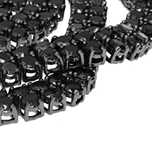 Iced Out Bling ZIRCONIA STONE 2 ROW Chain - black / black