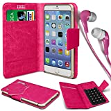 N4U Online® - Nokia C3-01 Touch and Type PU Leather Suction Pad Wallet Case Cover & 3.5mm Earbud Stereo Earphone - Hot Pink