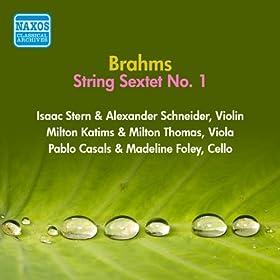 Brahms, J.: String Sextet No. 1 (Stern, Casals, Foley, Schneider, Katims, Thomas) (1956)