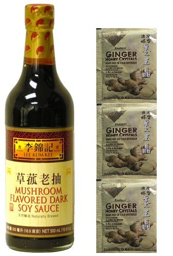 Lee Kum Kee Mushroom Flavored Dark Soy Sauce Plus a Free Gift Instant Ginger Honey Crystals (Soy Ginger Sauce compare prices)
