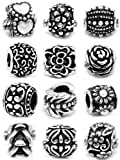 Ten (10) Silver Assorted Flower and Pattern Design Beads Charm (Styles You Will Receive Are Shown in Picture Assorted Random Mix 10 Beads) for European Style Bracelets Fits Pandora, Biagi, Troll, Chamilla and Many Others
