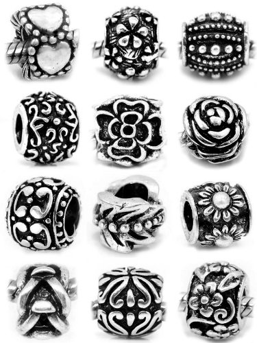 Ten (10) Silver Assorted Flower and Pattern Design